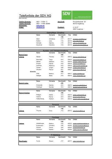 Telefonliste - SDV AG