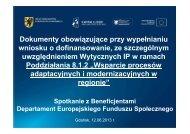 Zasady wypełniania wniosku o dofinansowanie, z uwzględnieniem ...