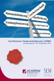 Zertifizierter Fördermittelberater (VÖB)® - Academy of Finance