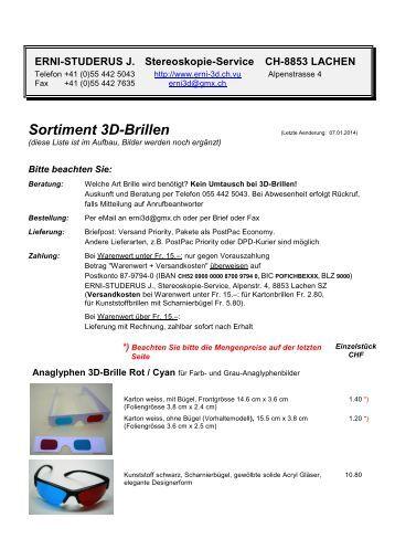 Sortiment 3D-Brillen