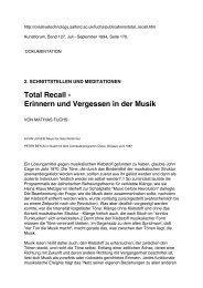Total Recall - Erinnern und Vergessen in der Musik - Manoa Free ...