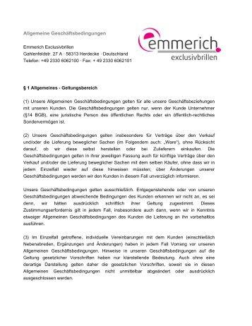 AGBs - Emmerich Exclusivbrillen