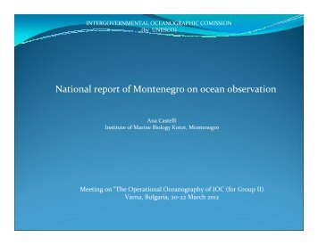 National report of Montenegro on ocean observation