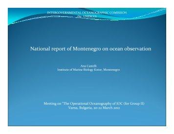 National report of Montenegro on ocean observation