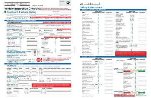 Certified Pre Owned Vehicle Inspection Checklist Dealer