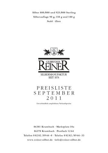 PREISLISTE SEPTEMBER 2011