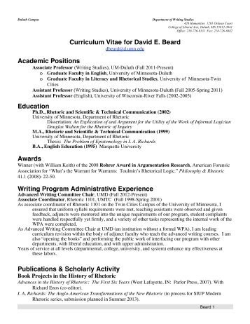 Curriculum Vitae for David E. Beard Academic Positions Education ...