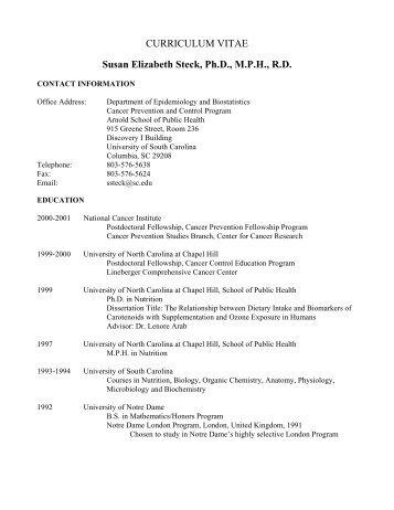CURRICULUM VITAE Susan Elizabeth Steck, Ph.D., MPH, RD