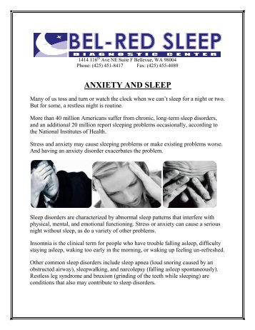 ANXIETY AND SLEEP - BEL-RED SLEEP DIAGNOSTIC CENTER