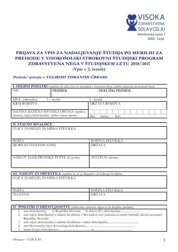prijava za vpis za nadaljevanje Ã…Â¡tudija po merilih za prehode v ...