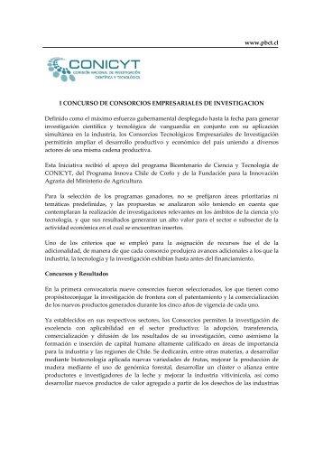 Antecedentes I Concurso de Consorcios Tecnológicos ... - Conicyt