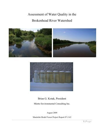 Assessment of Water Quality in the Brokenhead River Watershed