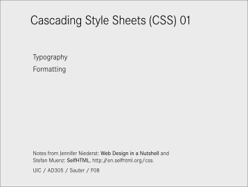 Cascading Style Sheets (CSS) 01 - Daniel Sauter