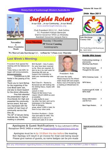Bulletin Vol 58 issue 22 24 November 2011 - The Rotary Club of ...