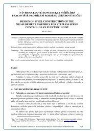 návrh ocelové konstrukce měřícího pracoviště pro řízení rozběhu ...