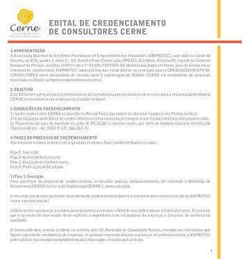 EDITAL DE CREDENCIAMENTO DE CONSULTORES ... - Anprotec