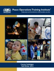 Course Catalogue - Peace Operations Training Institute