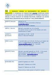 nb: il presente orario di ricevimento dei docenti e - Scienze Politiche