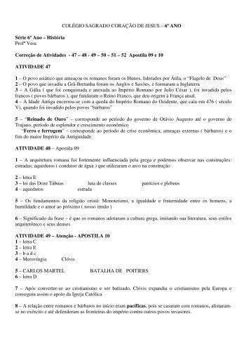 6ª ANO Série 6º Ano – História Profª Vera Correção de Atividades - 47