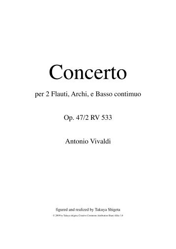 Concerto for 2 Flutes C Major - Free Sheet Music Downloads