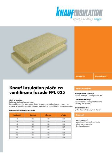 Knauf Insulation ploËa za ventilirane fasade FPL 035 - Gradimo