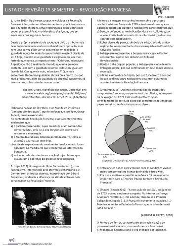 LISTA DE REVISÃO 1º SEMESTRE – REVOLUÇÃO FRANCESA