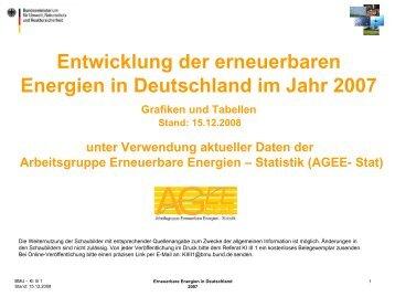 Entwicklung der erneuerbaren Energien in Deutschland im Jahr 2007