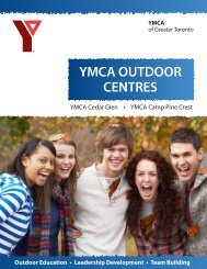 YMCA Outdoor Centres Brochure - YMCA of Greater Toronto