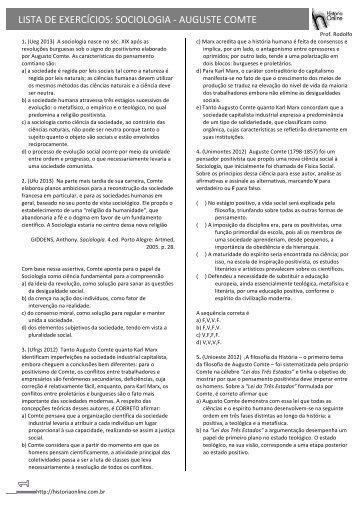 LISTA DE EXERCÍCIOS: SOCIOLOGIA -‐ AUGUSTE COMTE