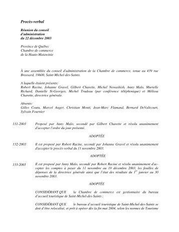 Procès-verbal - Chambre de commerce de la Haute-Matawinie