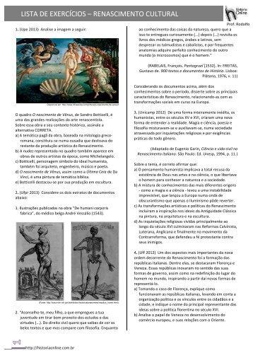 LISTA DE EXERCÍCIOS – RENASCIMENTO CULTURAL