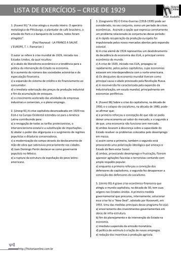 LISTA DE EXERCÍCIOS – CRISE DE 1929