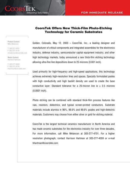 CoorsTek Offers New Thick-Film Photo-Etching Technology for