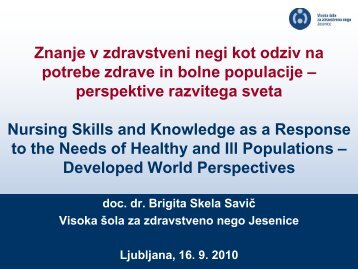 dr. Brigita Skela Savič - Visoka Šola za zdravstveno nego Jesenice