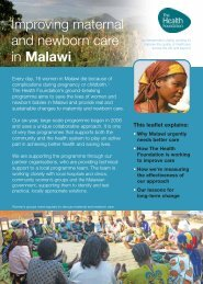 Improving maternal and newborn care in Malawi - Health Foundation