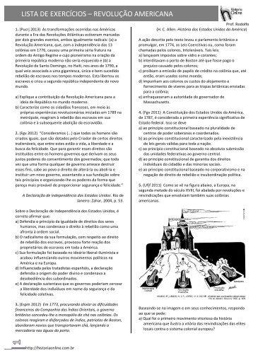 LISTA DE EXERCÍCIOS – REVOLUÇÃO AMERICANA