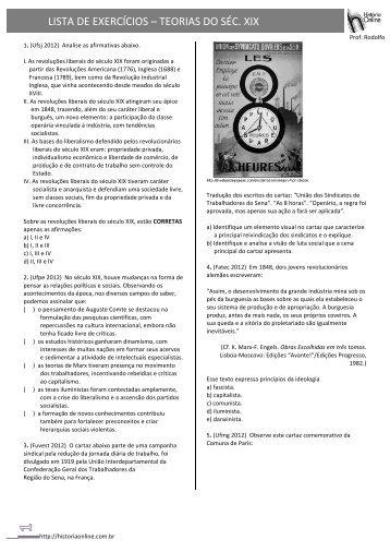 LISTA DE EXERCÍCIOS – TEORIAS DO SÉC. XIX