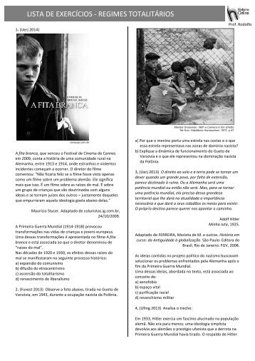 LISTA DE EXERCÍCIOS -‐ REGIMES TOTALITÁRIOS