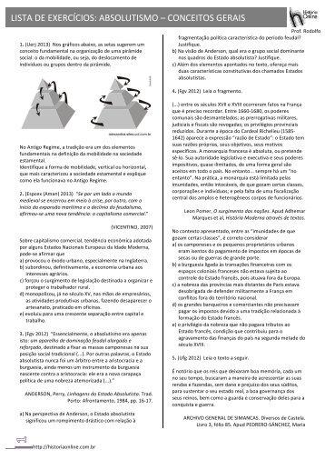 LISTA DE EXERCÍCIOS: ABSOLUTISMO – CONCEITOS GERAIS