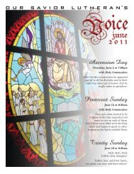 Ascension Day Pentecost Sunday Trinity Sunday - Our Savior ...