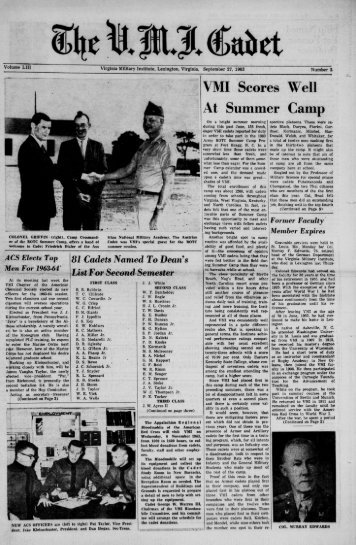 The Cadet. VMI Newspaper. September 27, 1963 - New Page 1 ...