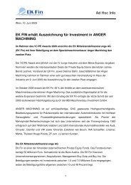 EK Fin erhält Auszeichnung für Investment in Anger Machining
