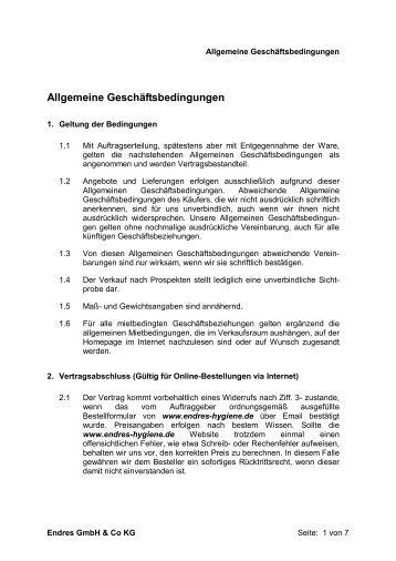 Allgemeine Geschäftsbedingungen - Endres GmbH & Co KG