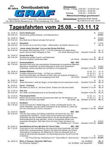 Tagesfahrten vom 25.08. - 03.11.12 - Graf Busreisen Frankenthal