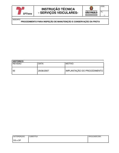 Procedimento para Inspeção de Manutenção e Conservação da Frota