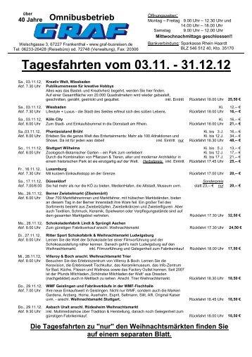 Tagesfahrten vom 03.11. - 31.12.12 - Graf Busreisen Frankenthal