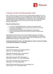 In Oberösterreich sind nun fünf Beratungsstellen eröffnet - fit2work