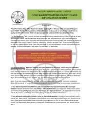 CONCEALED WEAPONS CARRY CLASS INFORMATION SHEET