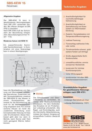 Technische Angaben SBS-KEW 15 - SBS Heizkessel