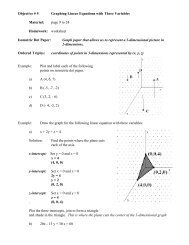 Objective # 5 Graphing Linear Equations with Three Variables ...